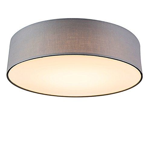 modern ceiling lamps. QAZQA Modern Ceiling Lamp/Ceiling Flush Light Drum LED 40 Grey/Fabric/Round Lamps A
