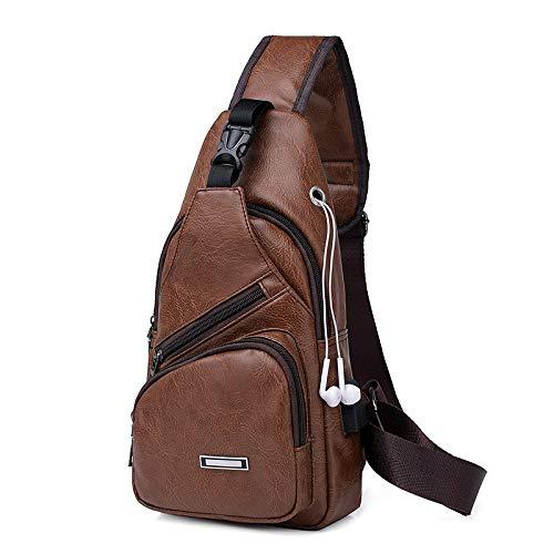 PU Pecho Crossbody Hombre Body Bag Cross USB café Hombro marrón Casual Cargador Queta Viaje marrón Pack qtxwUE0T0X