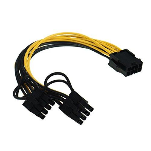 9daysminer - Cable alargador de 6 pines PCIe a 8 (6+2) Pin Graphics Card PCI-e Express VGA, 8pin a 2 x 8pin conector de...