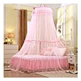 QUANOVO Ceiling Nets Floor to Enlarge Encryption Ceiling Dome Princess Bud Silk Bed Cover for 90% Bed,Pink