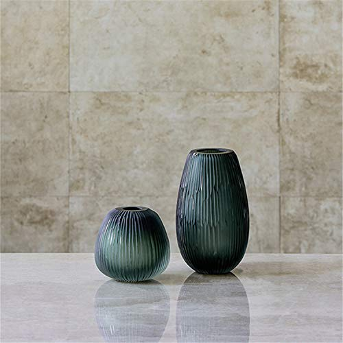 Creative Retro Green Vertical Stripes Hand-Polished Glass Vases, Set of 2, Living Room Table Home Decoration, Wedding ()