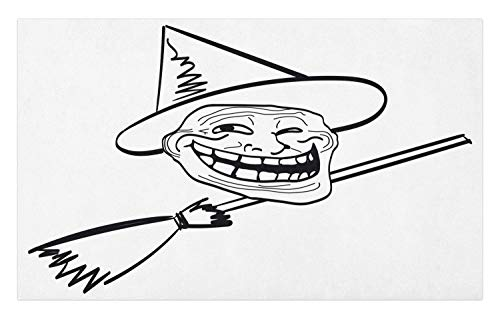 Ambesonne Humor Doormat, Halloween Spirit Themed Witch Guy Meme LOL Joy Spooky Avatar Artful Image Print, Decorative Polyester Floor Mat with Non-Skid Backing, 30 W X 18 L Inches, Black and White