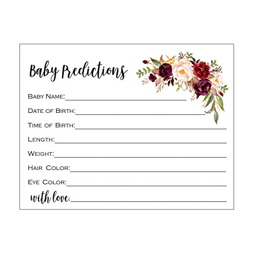 (Baby Predictions, Baby Shower Game, Pretty Baby Prediction Game, Set of 20, Baby Shower Guest Book Alternative, Baby Shower Advice Cards, Predictions, Blush and Burgundy Flowers,)