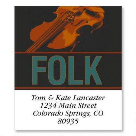 - Folk Music Square Return Address Labels - Set of 144 1-1/8