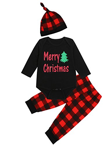 Truly One 3PCS Baby Boys Girls Merry Christmas Plaid Outfit Set Long Sleeve Romper Pants with Hat (0-3 Months)