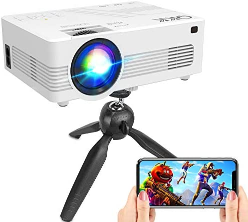 """[WiFi Projector] QKK Upgraded 5500Lumens Projector, Full HD 1080P Supported Mini Projector [Tripod Included], Max 200"""" Display, Smartphone/HDMI/AV/USB/TF/Sound Bar/TV Stick Supported"""