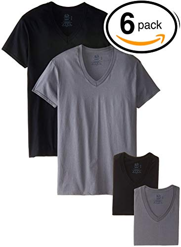 Fruit of the Loom Men's Tucked V-Neck T-Shirt (Black & Grey, Small) ()