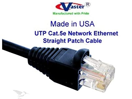 UL cm and 100/% Copper. 24AWG, 50u Gold Plating Made in USA, Black RJ45 Computer Networking Cord - 150 Ft Cat5e Ethernet Patch Cable