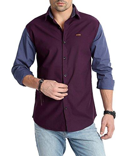 RODID Men #39;s Solid Casual Shirt  RS16C0DP L_Dark Purple_Large