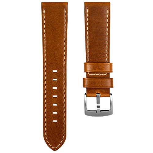 Geckota Old Chester Vintage Genuine Leather Watch Band, Brushed Buckle, Light Brown, 20mm Watch Chrome Leather Band