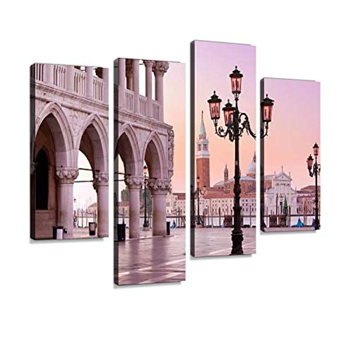 - Lido and St Marks Square Venice Italy in The Morning Canvas Wall Art Hanging Paintings Modern Artwork Abstract Picture Prints Home Decoration Gift Unique Designed Framed 4 Panel