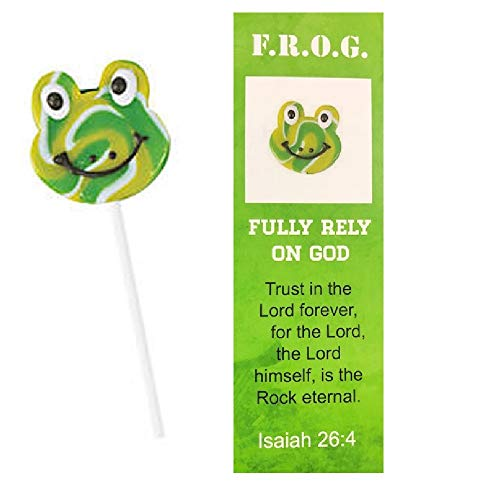 Fully Rely On God Bookmarks With Swirl Frog Lollipops For Kids (12 Count)
