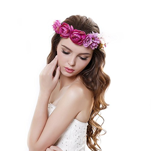 Beautiful Women Rose Flower Crown Garland Headband with Adjustable Ribbon - Beautiful Crown