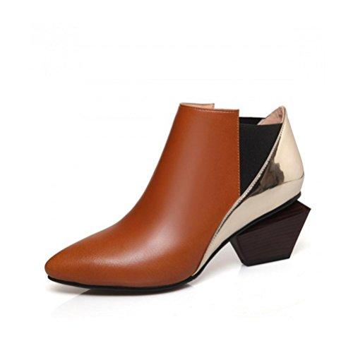 Bare Boots Single Boots con High cortas botas Black Tacón pelear áspero para de botas QPYC Martin gold brown zapato The Mareado Women's Female vxUpwqpHT