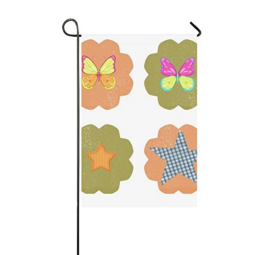 Home Decorative Outdoor Double Sided Tag Label Scrapbook Collage Cute Girl Pink Garden Flag,house Yard Flag,garden Yard Decorations,seasonal Welcome Outdoor Flag 12 X 18 Inch Spring Summer (Collage Tags)