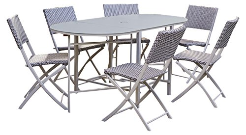COSCO Outdoor Living Transitional 7 Piece Delray Steel Woven Wicker Compact Folding Patio Dining Set, Blue and Gray Resin Wicker, Steel Frame, Aluminum Top Table
