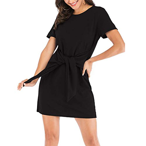 CCOOfhhc Summer Tshirt Dresses for Women Casual Short Sleeve Party Bodycon Sheath Belted Dress Solid Mini Dress Black ()
