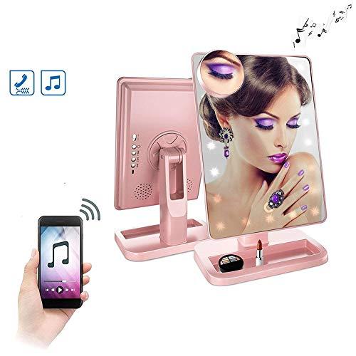Makeup Mirror Bluetooth - 20 LED Lights Cosmetic Mirror,180° Rotation Vanity Mirror Lights,B