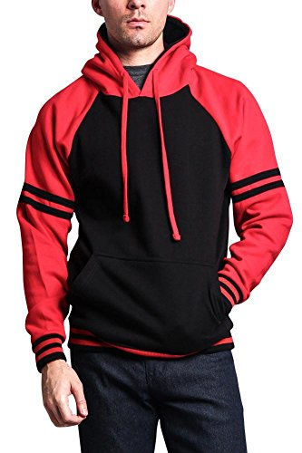 G-Style USA Premium Heavyweight Contrast Raglan Dual Striped Sleeve Pullover Hoodie MH13115 - Black/RED - Medium by G-Style USA