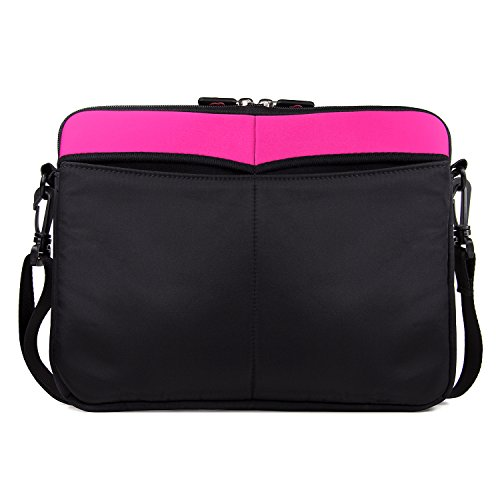 HD Android Tablet Sleeve Case | Magenta/Black Slim Messenger Crossbody Bag ()