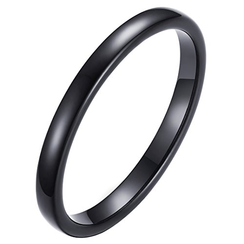 (INRENG Women's Tungsten Carbide Domed Small Thin Ring 2mm Engagement Wedding Band Black Size 9)