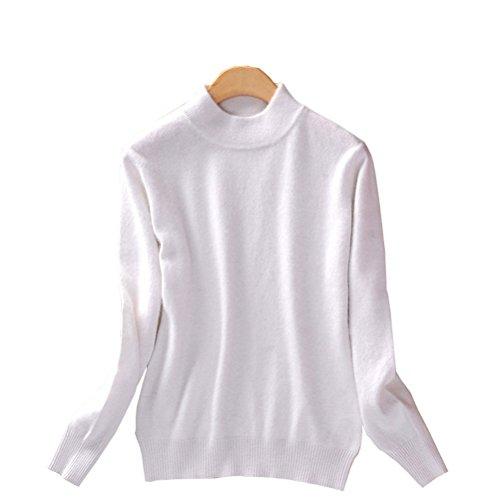 (Always Pretty Women's Slim Mock Neck Wool Knit Jumper Sweater Tops Pullover White L)