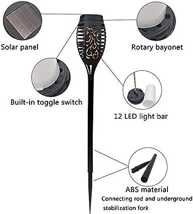 mit realistischen Flammen und IP65 wasserdicht A /ø10.5 * 58 cm Solar Garten Licht Gartenleuchten Solar Fackel Solarlampen f/ür Au/ßen 2 St/ück Garten Fackeln Solarleuchte
