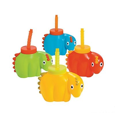 Dinosaur Molded Cups with Lids & Straws 2 units