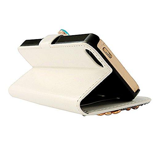 Mavis's Diary iPhone 5 5s/SE Hüllen Weiß Blumen Blau Schmetterling Handgefertigt Kunstledertasche Flip Case Kartenfach Tasche Schutzhülle Scratch Multifunktion Schnalle Magnetverschluss Telefon-Kasten