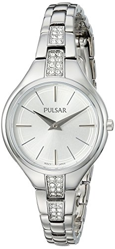Pulsar Women's Analog-Quartz Watch with Stainless-Steel Strap, Silver, 10 (Model: PM2239