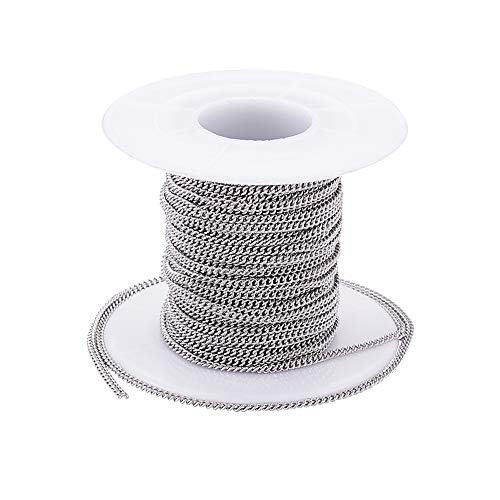 Kissitty 32.8 Feet/10 Meters Stainless Steel Unwelded Curb Twist Cross Chains 2.4x1.9x0.5mm Link Cable Chains with Spool for DIY Jewelry Making