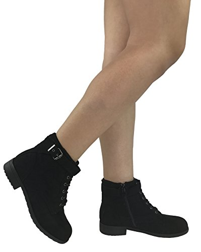Forever Collection Women's Fashion Ankle Bootie Faux Suede Leather Round Toe Flat Heel Combat