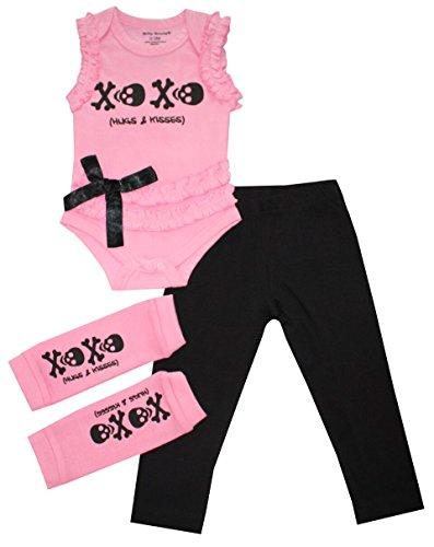 Skull XO Baby Girl Onesie Tutu and Leggings Pink and Black