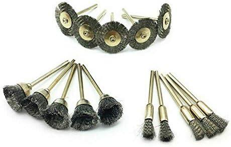 spazzole in filo di acciaio kit per punte da trapano rotanti spazzole per lucidatura argento BE-TOOL Set di spazzole metalliche in acciaio 3 modalit/à