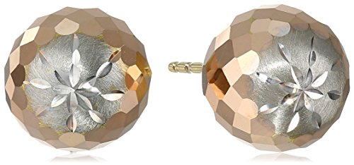14k Tricolor Gold 9.4mm Diamond-Cut Ball Studs by Amazon Collection