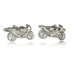 Sport Bike Silver Cufflinks with Gift Box