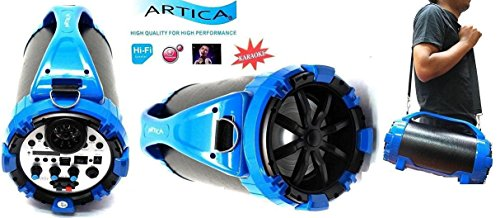 ARTICA AR2652 Portable Wireless Bluetooth Speaker FM Radio MP3 Player RECHARGING Battery, Micro TF SD Card, USB Input, AUX Line-In, Powerful Audio Driver VOICE RECORDING KARAOKE - BLUE / Black (BLUE)