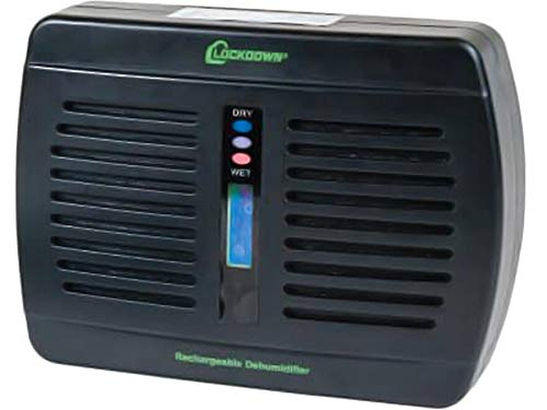 Lockdown Rechargeable/Renewable Dehumidifier with Compact, Cordless, Non-Toxic Design and Charge Level Indicator for Humidity Control in Gun Safe
