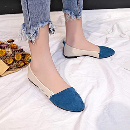 Plates En Femmes Daim Simples Synthétique Bleu Bouche Pointu Flâneur Ballerines Profonde Sanfashion Élégant Peu Chaussures Bout 8Hpttq