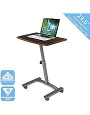 "Seville Classics 23.6"" Solid-Top Height Adjustable Mobile Laptop Desk Cart (20.5"" to 33"" H) Ergonomic Table, Walnut"