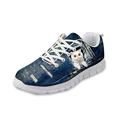 Bigcardesigns White Kitty Jogging Fitness Shoes Casual Walking Trainers 35 NUcajCx