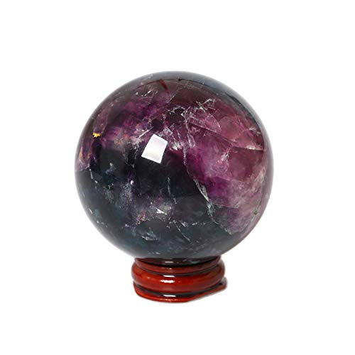 Yuanxi Natural Quartz Handmade Art Healing Purple Fluorite Ball Stone Craft Christmas Home Decoration Gift Collection Fengshui Sphere Free Stand -