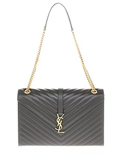 Saint Laurent Women's Large Monogram Matelasse Chain Shoulder Bag Dark Grey