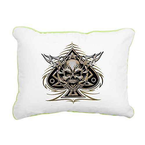 - Rectangular Canvas Throw Pillow Key Lime Skull Spade Chains and Flames
