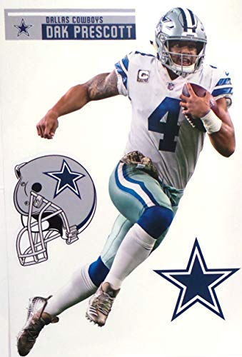 FATHEAD Dak Prescott Dallas Cowboys Logo Set Official NFL Vinyl Wall Graphics 16