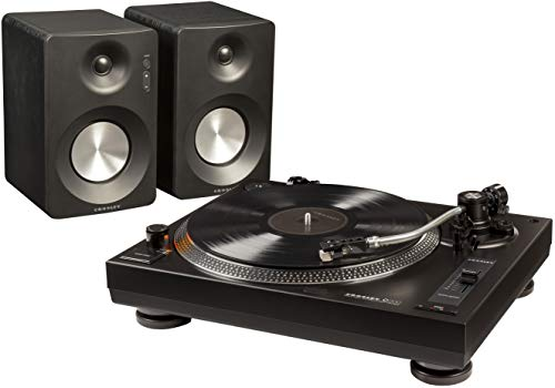Crosley K200 Direct-Drive Turntable Stereo System with Bluetooth Speakers, Black