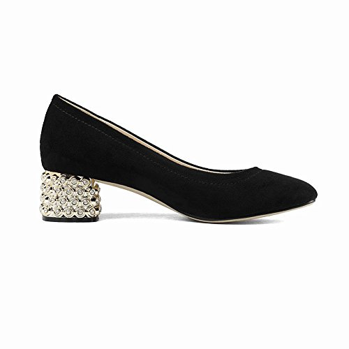 Mee Nero Ufficio Court On Block Slip Da Donna Shoes Mid Heel rrPq1