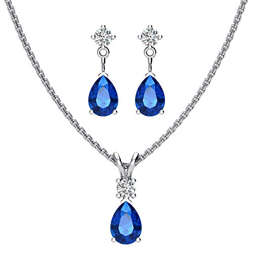 (Sterling Silver Jewelry Set for Women Pear shaped 7x5mm Blue Sapphire and 3mm Natural White Topaz Pendant Necklace and Matching Pear Shaped Blue Sapphire & White Topaz Stud)