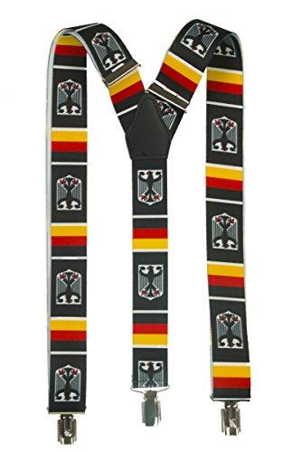 Shenky - Bretelles en Y avec 3 pinces - motif armoiries de l'Allemagne/aigle - pour carnaval/Oktoberfest