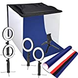 Emart 24'' x 24'' Foldable Photography Photo Studio Light Box, 6'' Bi-Color LED Tabletop Ring Light for Product, Jewelry, Food Shoot